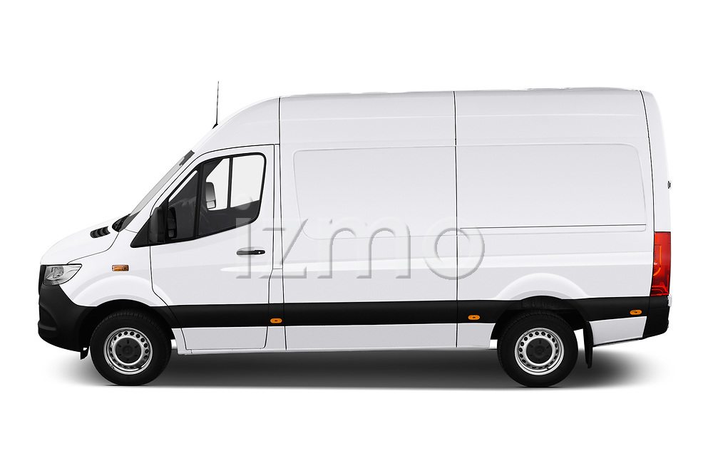 Car Driver side profile view of a 2019 Mercedes Benz Sprinter - 2 Door Cargo Van Side View