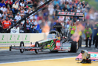 Aug. 5, 2011; Kent, WA, USA; NHRA top fuel dragster driver Terry McMillen during qualifying for the Northwest Nationals at Pacific Raceways. Mandatory Credit: Mark J. Rebilas-