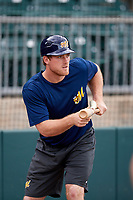 Montgomery Biscuits Justin O'Conner (10) bunts during batting practice before a game against the Mississippi Braves on April 24, 2017 at Montgomery Riverwalk Stadium in Montgomery, Alabama.  Montgomery defeated Mississippi 3-2.  (Mike Janes/Four Seam Images)