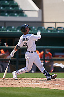 Detroit Tigers Dillon Dingler (9) bats during a Minor League Spring Training game against the Baltimore Orioles on April 14, 2021 at Joker Marchant Stadium in Lakeland, Florida.  (Mike Janes/Four Seam Images)