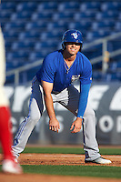 Dunedin Blue Jays first baseman Ryan McBroom (23) leads off first during a game against the Clearwater Threshers on April 8, 2016 at Bright House Field in Clearwater, Florida.  Dunedin defeated Clearwater 8-3.  (Mike Janes/Four Seam Images)