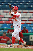 Third Baseman Li Lei (35) of the China National Team during a game vs. the Houston Astros Instructional League team at Holman Stadium in Vero Beach, Florida September 28, 2010.   China is in Florida training for the Asia games which will be played in Guangzhou, China in November.  Photo By Mike Janes/Four Seam Images