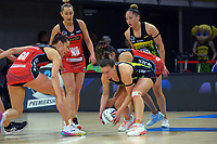 Pulse's Claire Kersten protects the ball during the ANZ Premiership netball match between Central Pulse and Mainland Tactix at Te Rauparaha Arena in Wellington, New Zealand on Friday, 9 July 2021. Photo: Dave Lintott / lintottphoto.co.nz