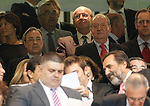 Real Madrid's President Florentino Perez (l) with Juan Carlos I King of Spain during Santiago Bernabeu Trophy.Tribute Match to Raul Gonzalez Blanco.August 22,2013. (ALTERPHOTOS/Acero)