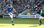 Hibs v St Johnstone…22.09.21  Easter Road.    SPFL<br />Shaun Rooney volleys over the bar<br />Picture by Graeme Hart.<br />Copyright Perthshire Picture Agency<br />Tel: 01738 623350  Mobile: 07990 594431