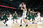 Zalgiris' Deon Thompson, Zalgiris' Nate Wolters, Real Madrid's Jaycee Carroll, Zalgiris' Marius Grigonis, Zalgiris' Brandon Davies during Euroligue match between Real Madrid and Zalgiris Kaunas at Wizink Center in Madrid, Spain. April 4, 2019.  (ALTERPHOTOS/Alconada)