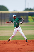 Dartmouth Big Green shortstop Blake Crossing (13) warmup throw to first base during a game against the Southern Maine Huskies on March 23, 2017 at Lake Myrtle Park in Auburndale, Florida.  Dartmouth defeated Southern Maine 9-1.  (Mike Janes/Four Seam Images)