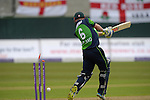 William Porterfield is bowled at the Ireland v England One Day Cricket International held at Malahide Cricket Club, Dublin, Ireland. 8th May 2015.<br /> Photo: Joe Curtis/www.newsfile.ie