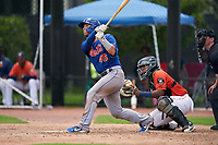 GCL Mets Ryan Shinn (46) at bat during a Gulf Coast League game against the GCL Astros on August 10, 2019 at FITTEAM Ballpark of the Palm Beaches Training Complex in Palm Beach, Florida.  GCL Astros defeated the GCL Mets 8-6.  (Mike Janes/Four Seam Images)