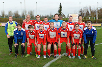 20151128 - PITTEM , BELGIUM : Team Melsele pictured with Caetlin Ceelen (1) , Yara Van Gucht (3) , Melissa Vinckx (4) , Britt Van Aelst (6) Lena Baert (7) , Rebecca Degenaers (9) , Lieselot De Bruyn (10) Anke Goor (13) , Nikita Smet (14) , Lindsay Martens (16) , Sofie Van Troyen (17) , Dinah Marchand (5) , Sandy De Schepper (8) en Lies Delodder (12)  during a soccer match between the women teams of DVK Egem Ladies and KVK Svelta Melsele  , during the eleventh matchday in the Second League - Tweede Nationale season, Saturday 28 November 2015 . PHOTO DAVID CATRY