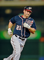 16 May 2012: Washington Nationals outfielder Xavier Nady rounds the bases after hitting his 100th career home run during a game against the Pittsburgh Pirates at Nationals Park in Washington, DC. The Nationals defeated the Pirates 7-4 in the first game of their 2-game series. Mandatory Credit: Ed Wolfstein Photo