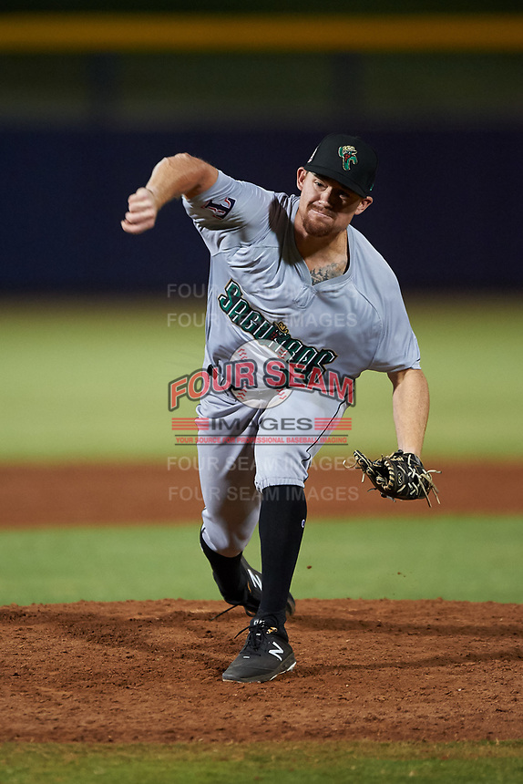 Surprise Saguaros relief pitcher Josh Advocate (11), of the Texas Rangers organization, during an Arizona Fall League game against the Peoria Javelinas on September 22, 2019 at Peoria Sports Complex in Peoria, Arizona. Surprise defeated Peoria 2-1. (Zachary Lucy/Four Seam Images)