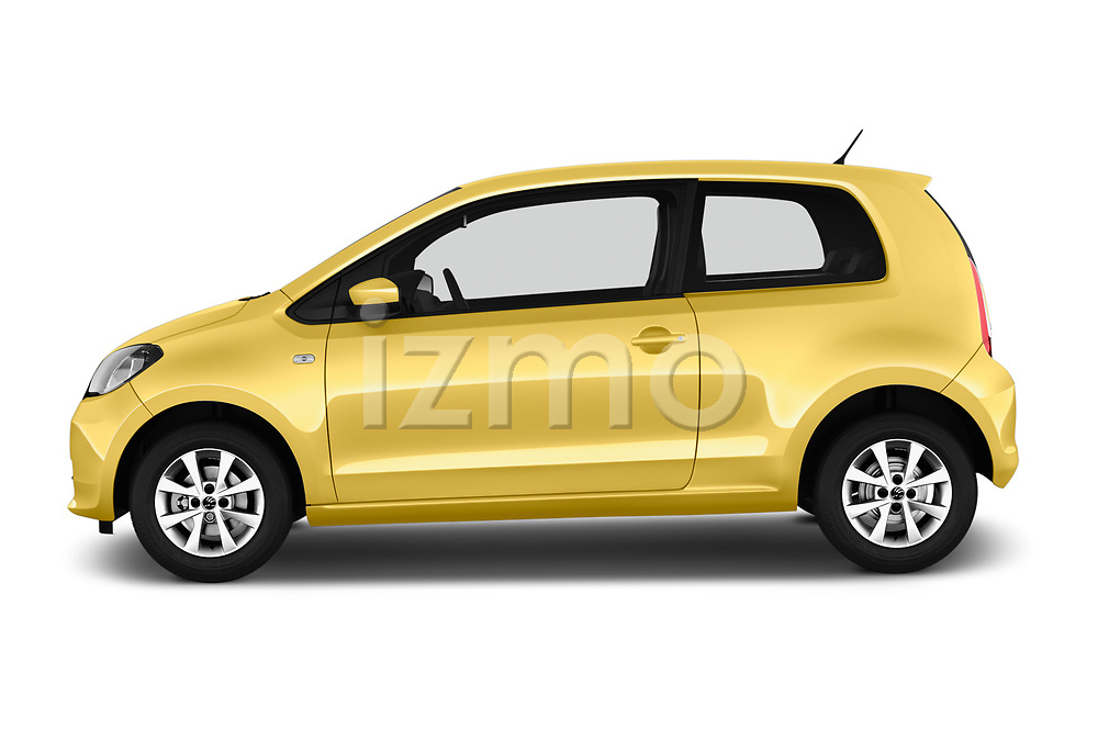 Car Driver side profile view of a 2016 Skoda Citigo Ambition 3 Door hatchback Side View