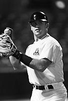 Jason Varitek of the Seattle Mariners at Phoenix Municipal Stadium in Phoenix,Arizona during the 1996 Arizona Fall League season. (Larry Goren/Four Seam Images)