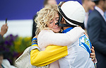 DEL MAR, CA - NOVEMBER 03: John Velazquez, jockey of Forever Unbridled #6, gets a hug from a woman after winning the Longines Breeders\'92 Cup Distaffon Day 1 of the 2017 Breeders' Cup World Championships at Del Mar Thoroughbred Club on November 3, 2017 in Del Mar, California. (Photo by Alex Evers/Eclipse Sportswire/Breeders Cup)