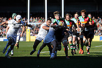 Jack Clifford of Harlequins heads for the tryline during the Aviva Premiership Rugby match between Harlequins and London Irish at The Twickenham Stoop on Saturday 7th March 2015 (Photo by Rob Munro)