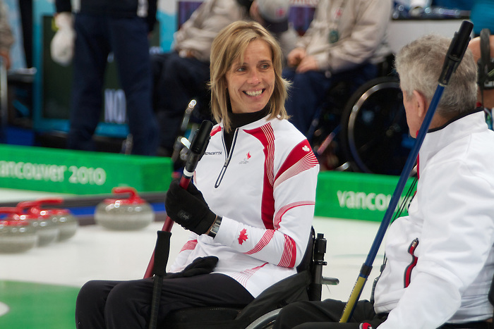 Sonja Gaudet, Vancouver 2010 - Wheelchair Curling // Curling en fauteuil roulant.<br /> Team Canada competes in Wheelchair Curling // Équipe Canada participe en curlign en fauteuil roulant. 13/03/2010.