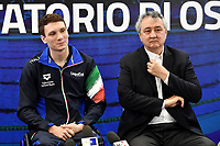 Roma 13-3-2019 Centro Federale di Ostia <br /> Swimmer Manuel Bortuzzo and italian swimming federation president Paolo Barelli (r) during a meeting with the press. Manuel Bortuzzo was shot in the back due to a mistaken identity and is paralysed from the waist down since then. This is the first outing of Manuel from the hospital and the rehabilitation center.  <br /> Foto Andrea Staccioli / Deepbluemedia / Insidefoto