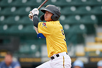 FCL Pirates Gold Tsung-Che Cheng (5) bats during a game against the FCL Rays on July 26, 2021 at LECOM Park in Bradenton, Florida. (Mike Janes/Four Seam Images)