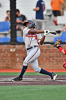 Danville Braves second baseman Nick Shumpert (1) swings at a pitch during a game against the  Johnson City Cardinals at TVA Credit Union Ballpark on July 23, 2017 in Johnson City, Tennessee. The Cardinals defeated the Braves 8-5. (Tony Farlow/Four Seam Images)
