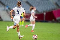 TOKYO, JAPAN - JULY 21: Kelley O'Hara #5 of the United States on the attack during a game between Sweden and USWNT at Tokyo Stadium on July 21, 2021 in Tokyo, Japan.