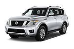 2018 Nissan Armada SV 5 Door SUV angular front stock photos of front three quarter view