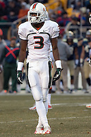 Miami wide receiver Stacy Coley. The Miami Hurricanes defeated the Pitt Panthers 41-31 at Heinz Field, Pittsburgh, Pennsylvania on November 29, 2013.