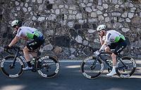 Bernhard 'Bernie' Eisel (AUT/Dimension Data) bringing Giacomo Nizzolo (ITA/Dimension Data) back to the peloton<br /> <br /> 110th Milano-Sanremo 2019 (ITA)<br /> One day race from Milano to Sanremo (291km)<br /> <br /> ©kramon