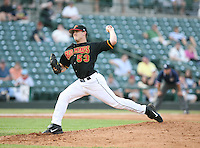 2007:  Brian Duensing of the Rochester Red Wings delivers a pitch at Frontier Field during an International League baseball game. Photo By Mike Janes/Four Seam Images