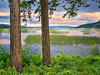 Shoalwater Bay on Upper Klamath Lake at sunrise. Oregon