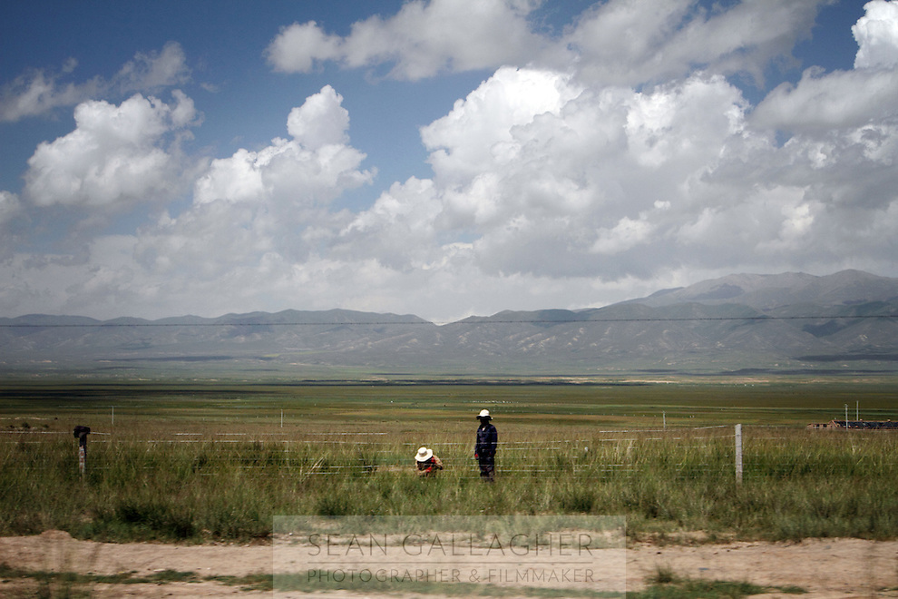 Two locals repairing a fence on the Qinghai-Tibetan Plateau. Qinghai Province. China. 2010