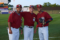 Mahoning Valley Scrappers Juan De La Cruz (45), Alexis Pantoja (6) and Willi Castro (2) before a game against the Auburn Doubledays on September 4, 2015 at Falcon Park in Auburn, New York.  Auburn defeated Mahoning Valley 5-1.  (Mike Janes/Four Seam Images)