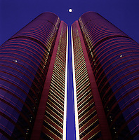 Hong Kong. China.  Exchange Square, home of the Stock Exchange. Evening..