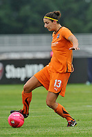 Yael Averbuch...Saint Louis Athletica and Sky Blue FC played to a 2-2 tie at Anheuser-Busch Soccer Park, Fenton, MO...Athletica wore white / pink uniforms in support of breast cancer awareness.