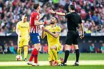 Saul Niguez of Atletico de Madrid and Vicente Iborra of Villareal CF during La Liga match between Atletico de Madrid and Villareal CF at Wanda Metropolitano in Madrid Spain. February 24, 2018. (ALTERPHOTOS/Borja B.Hojas)