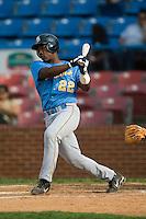 Myrtle Beach catcher Jose Camarena (22) follows through on his swing versus Winston-Salem at Ernie Shore Field in Winston-Salem, NC, Monday, May 28, 2007.
