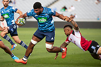 March 14th 2020, Eden Park, Auckland, New Zealand;  Blues Hoskins Sotutu breaks the tackle during the Super Rugby match between the Blues and the Lions, held at Eden Park, Auckland, New Zealand.