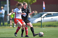 Geena Lisa Buyle (13) of Zulte Waregem and Stefanie Deville (3) of Woluwe  pictured during a female soccer game between SV Zulte - Waregem and White Star Woluwe on the 10 th and last matchday in play off 2 of the 2020 - 2021 season of Belgian Scooore Womens Super League , saturday 29 of May 2021  in Zulte , Belgium . PHOTO SPORTPIX.BE | SPP | DIRK VUYLSTEKE