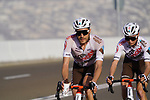 Andrea Vendrame (ITA) and François Bidard (FRA) AG2R Citroën Team on the final climb of Stage 3 of the 2021 UAE Tour running 166km from Al Ain to Jebel Hafeet, Abu Dhabi, UAE. 23rd February 2021.  <br /> Picture: Eoin Clarke | Cyclefile<br /> <br /> All photos usage must carry mandatory copyright credit (© Cyclefile | Eoin Clarke)
