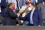 FC Barcelona's President Joan Laporta (l) and Getafe CF's President Angel Torres during La Liga match. August 29, 2021. (ALTERPHOTOS/Acero)