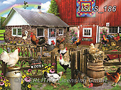Lori, LANDSCAPES, LANDSCHAFTEN, PAISAJES, paintings+++++Farm With Roosters_4_72_12in,USLS186,#l#, EVERYDAY ,puzzle,puzzles