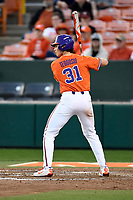 Center fielder Bryce Teodosio (31) of the Clemson Tigers bats in a game against the William and Mary Tribe on February 16, 2018, at Doug Kingsmore Stadium in Clemson, South Carolina. Clemson won, 5-4 in 10 innings. (Tom Priddy/Four Seam Images)