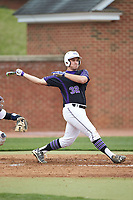Zack Gray (32) of the High Point Panthers follows through on his swing against the North Carolina Central Eagles at Williard Stadium on February 28, 2017 in High Point, North Carolina. The Eagles defeated the Panthers 11-5. (Brian Westerholt/Four Seam Images)