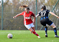 Standard's Davinia Vanmechelen pictured in a fight for the ball with Frieke Temmerman (17 Brugge) during a female soccer game between Standard Femina de Liege and Club Brugge YLA on the seventh matchday of the 2020 - 2021 season of Belgian Scooore Womens Super League , saturday 14 th of November 2020  in Angleur , Belgium . PHOTO SPORTPIX.BE | SPP | DAVID CATRY