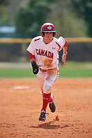 Canada Junior National Team David Calabrese (7) running the bases during an exhibition game against the Philadelphia Phillies on March 11, 2020 at Baseball City in St. Petersburg, Florida.  (Mike Janes/Four Seam Images)
