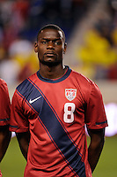Maurice Edu (8) of the United States. The men's national team of the United States (USA) was defeated by Ecuador (ECU) 1-0 during an international friendly at Red Bull Arena in Harrison, NJ, on October 11, 2011.