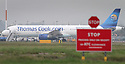 """23/10/19<br /> <br /> File Photo dated 12/07/11 showing a Thomas Cook jet at East Midlands Airport.<br /> <br /> Thomas Cook has collapsed after last-minute negotiations aimed at saving the 178-year-old holiday firm failed.<br /> <br /> The UK Civil Aviation Authority (CAA) said the tour operator had """"ceased trading with immediate effect"""".<br /> <br /> It has also triggered the biggest ever peacetime repatriation, aimed at bringing more than 150,000 British holidaymakers home.<br /> <br /> <br /> <br /> All Rights Reserved, F Stop Press Ltd +44 (0)7765 242650 www.fstoppress.com rod@fstoppress.com"""
