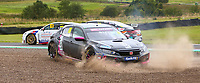 30th August 2020; Knockhill Racing Circuit, Fife, Scotland; Kwik Fit British Touring Car Championship, Knockhill, Race Day; Josh Cook slides into the gravel pit during round 11 of the BTCC