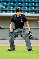 Home plate umpire Doug Del Bello during the Carolina League game between the Potomac Nationals and the Winston-Salem Dash at BB&T Ballpark on July 8, 2013 in Winston-Salem, North Carolina.  The Dash defeated the Nationals 12-9.  (Brian Westerholt/Four Seam Images)