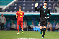 ST PETERSBURG, RUSSIA - JUNE 12 :  Thibaut Courtois goalkeeper of Belgium is greeting the supporters before  the 16th UEFA Euro 2020 Championship Group B match between Belgium and Russia on June 12, 2021 in St Petersburg, Russia, 12/06/2021 <br /> Photo Photonews / Panoramic / Insidefoto <br /> ITALY ONLY